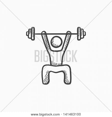 Man exercising with barbell vector sketch icon isolated on background. Hand drawn Man exercising with barbell icon. Man exercising with barbell sketch icon for infographic, website or app.