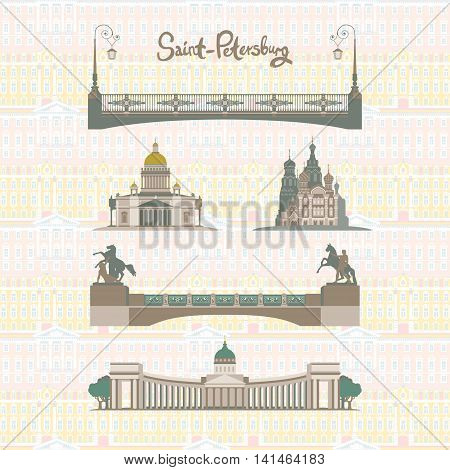 Set of the main sights of Saint-Petersburg, Russia: Kazan Cathedral, St. Isaac's Cathedral, the Cathedral of the Savior on blood, Anichkov bridge.