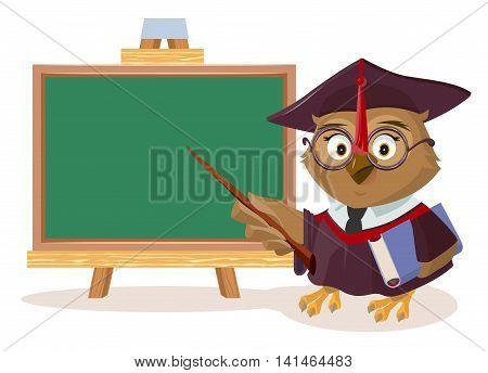 Owl teacher with book and pointer stands near blackboard. Vector cartoon illustration