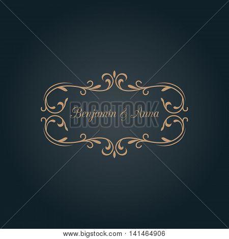 Elegant floral monogram design template with decorative elements. Wedding monogram. Calligraphic elegant ornament. Business sign, monogram identity for restaurant, boutique, hotel, heraldic, jewelry.