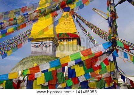 The Boudhanath Stupa in Kathmandu , Nepal , one CBE s largest outside of Tibet
