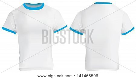 Vector illustration of blank men blue ringer t-shirt template white shirt with blue collar and sleeve bands front and back design isolated on white