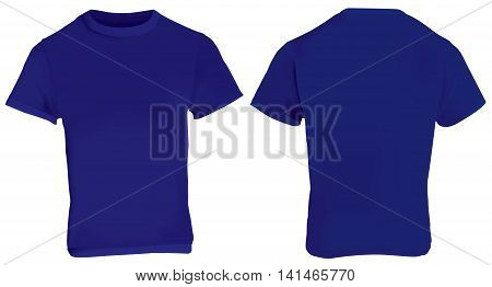 Vector illustration of blank dark blue men t-shirt template front and back design isolated on white