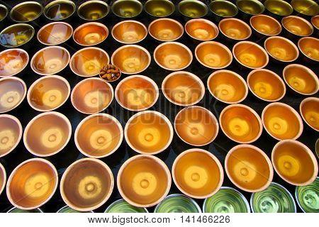 Water bowl , to be donated to Buddha at the Boudhanath Stupa in Kathmandu , Nepal