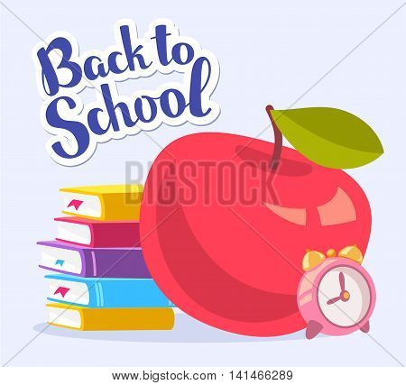 Vector colorful illustration of big red apple stack of books and pink alarm clock with text back to school on blue background. Bright school design for web site advertising banner poster brochure board