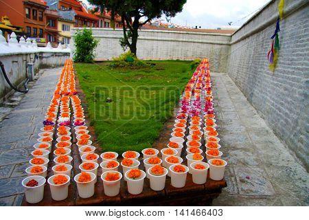 Candles at Boudhanath Stupa in Kathmandu, Nepal