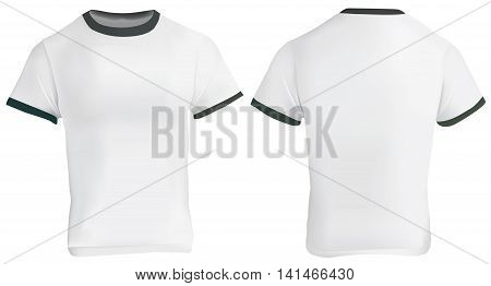Vector illustration of blank men ringer t-shirt template white shirt with black collar and sleeve bands front and back design isolated on white poster