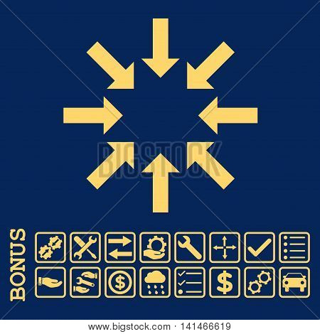 Collapse Arrows icon with bonus pictograms. Vector style is flat iconic symbol, yellow color, blue background. Bonus style is square rounded frames with symbols inside.