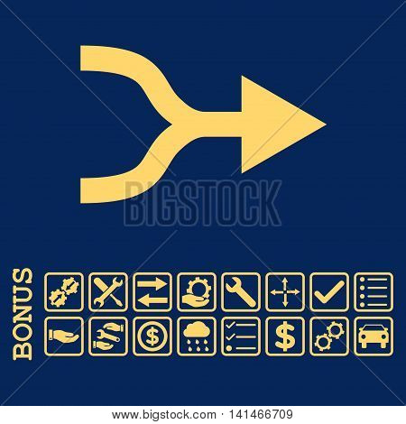 Combine Arrow Right icon with bonus pictograms. Vector style is flat iconic symbol, yellow color, blue background. Bonus style is square rounded frames with symbols inside.