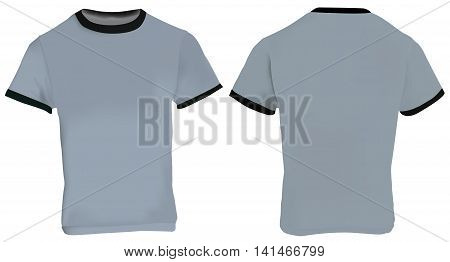 Vector illustration of blank men grey ringer t-shirt template grey shirt with black collar and sleeve bands front and back design isolated on white