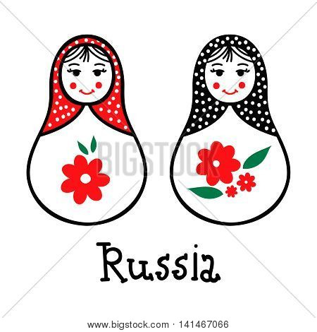Russian traditional wooden toys babushka matryoshka simple USSR elements. Vector illustration. National culture concept. Retro doll design background.