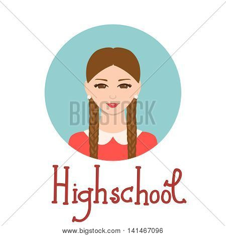 Young woman face avatar. Cute school girl portrait for social networks. Vector illustration with handdrawn lettering. Highschool student