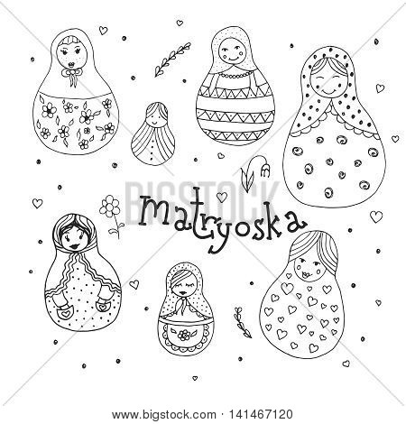 Russian traditional wooden toys babushka matryoshka simple USSR elements. Hand drawn vector illustration. National culture concept. Retro doll design background in doodle style