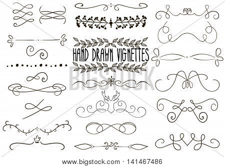 Set of Hand drawn text dividers, vignettes in retro style. Vector calligraphic borders for greeting card, retro party, wedding invitation.