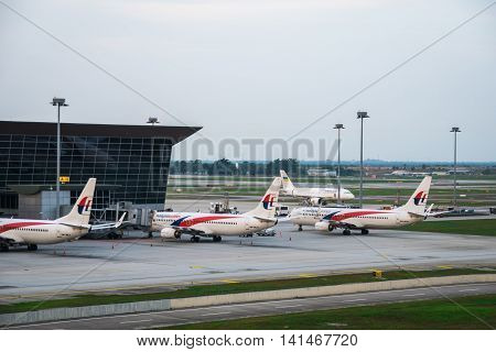 Kuala Lumpur, Malaysia - circa August 2016: Malaysia Airlines aircrafts at Kuala Lumpur International Airport. Malaysia Airlines is the flag carrier airline of Malaysia and Kuala Lumpur is a major airport in South East Asia.