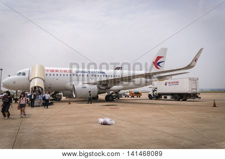 Shanghai, China -  circa August 2016: China Eastern Airlines aircraft landed at Shanghai Pudong airport. China Eastern Airlines  is a major Chinese airline based in Shanghai.