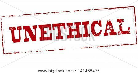 Rubber stamp with word unethical inside vector illustration