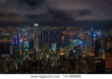 Hong Kong skyline at night, from victoria peak