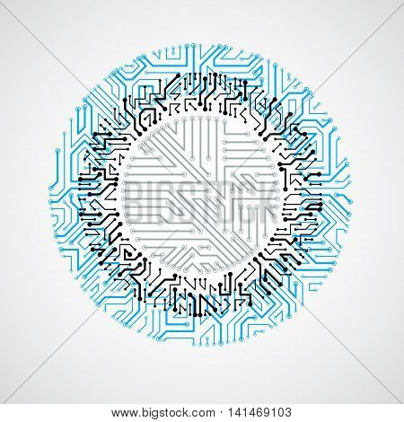 Vector Abstract Colorful Technology Illustration With Round Blue Circuit Board. High Tech Circular D