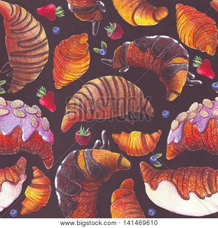 Seamless raster illustration with various croissant and berries. Croissant with strew topping and chocolate syrup baked and fried. Hand drawn with color pencils illustration on dark paper.