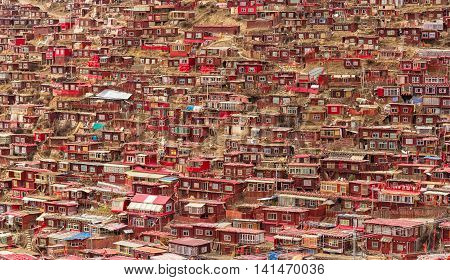 Monastery at Larung gar (Buddhist Academy) Sichuan China.