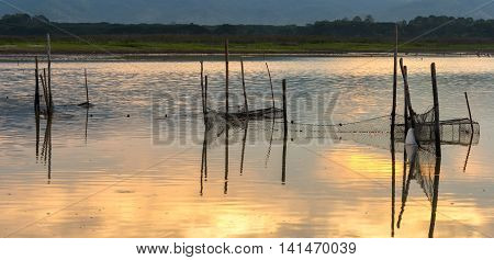 Fishing nets in the swamps at sunrise chonburi Thailand