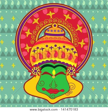 Vector design of Kathakali dancer's face in Indian art style