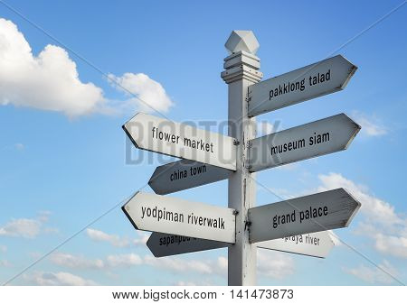 BANGKOK, THAILAND- August 1 : Signpost with distance to many different place for traveler on August 1, 2016 in Bangkok , Thailand