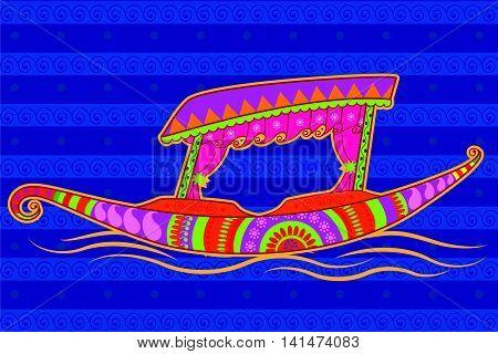 Vector design of shikara boat in Indian art style