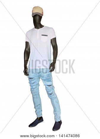 Full length male mannequin dressed in t-shirt baseball cap and jeans isolated on white background. No brand names or copyright objects.