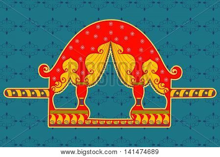 Vector design of palanquin in Indian art style