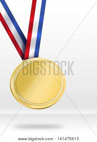 Gold Medal Illustration. Shiny Medal for Awarding ceremony concept