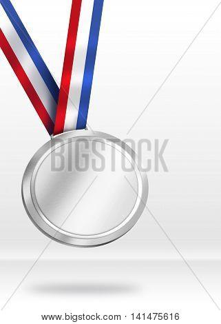 Silver Medal Illustration. Shiny Medal for Awarding ceremony concept