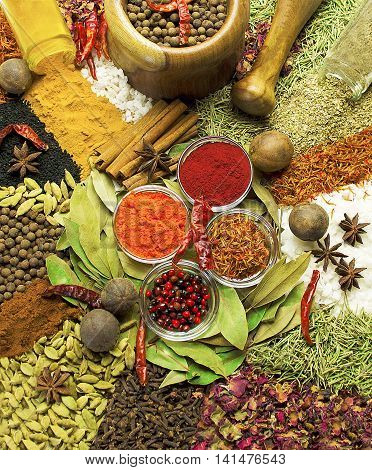 Colorful natural spices and herbs.Aromatic ingredients and food additives.