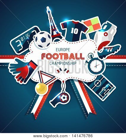 Europe football Championship. Sport vector illustration on dark.