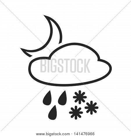 Heavy rain with snow. Sleet shower. Night. Weather forecast icon. Editable element. Creative item. Flat design. Part of series of various symbols and signs for climate changes diagnostic. Vector