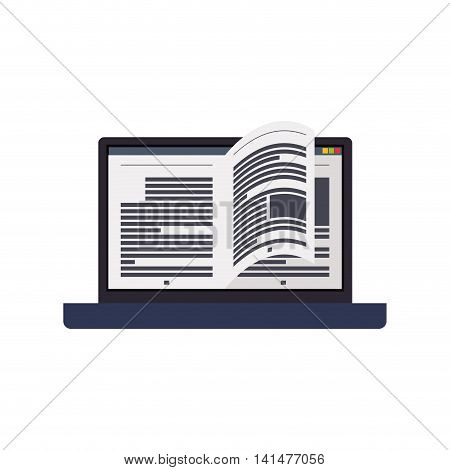 ebook laptop internet web reading lerning icon. Isolated and flat illustration. Vector graphic