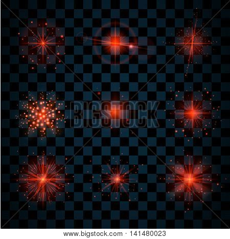 Red shine stars with glitters and sparkles icons set. Effect twinkle glare scintillation element sign graphic light. Transparent design elements dark background. Varied template Vector illustration