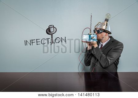 Infection text with vintage businessman kissing machine