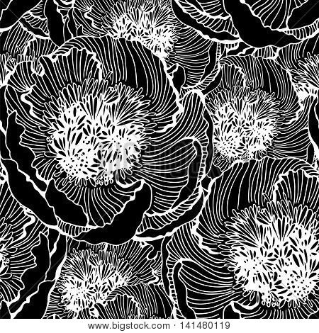 Black and white vector seamless pattern with graphic flowers vector floral illustration background textile decor and design botanical wallpaper for printing on fabric paper or wrapping
