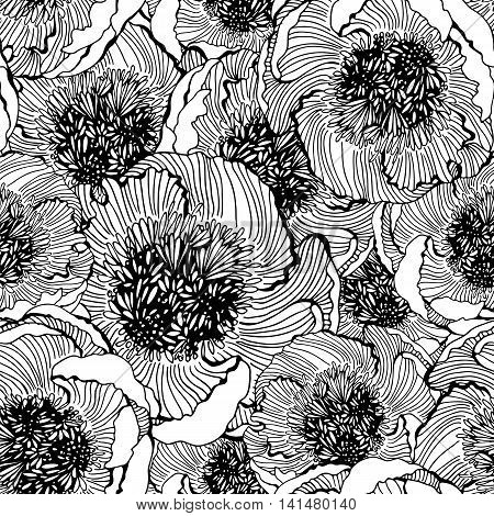Decorative seamless floral pattern with flowers of peony monochrome vector illustration textile decor and design botanical texture for printing on fabric paper or wrapping