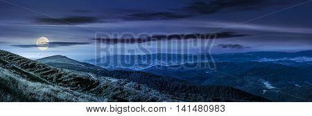 Hillside Panorama In Carpathian Mountains At Night