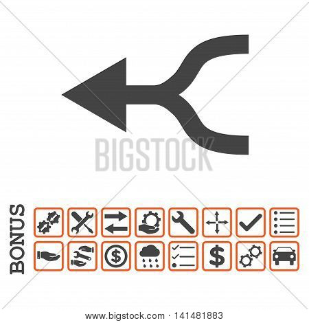 Combine Arrow Left icon with bonus pictograms. Glyph style is flat iconic symbol, orange and gray colors, white background. Bonus style is bicolor square rounded frames with symbols inside.
