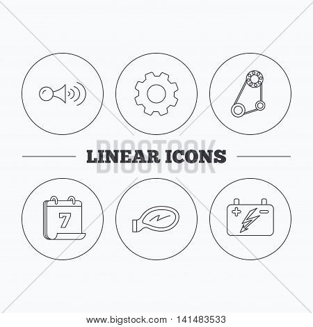 Accumulator, klaxon signal and generator belt icons. Accumulator linear sign. Flat cogwheel and calendar symbols. Linear icons in circle buttons. Vector