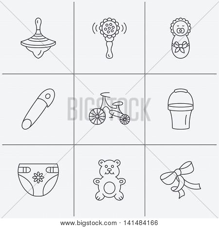 Newborn, diapers and bear toy icons. First bike, bow and pin linear signs. Rattle, whirligig and bucket flat line icons. Linear icons on white background. Vector