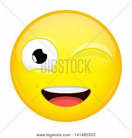 Wink emoji. Smile emotion. Twinkle grin emoticon. Vector illustration smile icon.