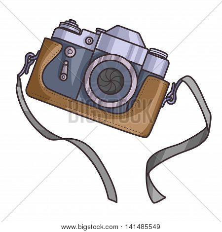 Retro or vintage camera. Cartoon flat style on a white background. Old with strap. Vector Illustration.