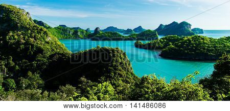 Ang Thong National Marine Park Islands in Thailand/ A photo taken from the viewpoint of Ang Thong National Marine Park