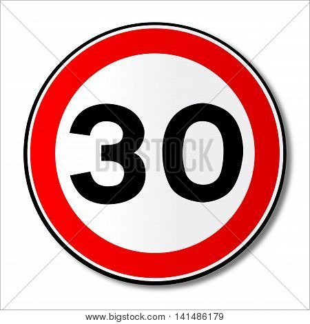A large round red traffic displaying a thirty MPH speed limit