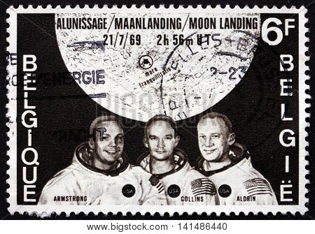 BELGIUM - CIRCA 1969: a stamp printed in the Belgium shows Armstrong Collins and Aldrin and Map Showing Tranquility Base Moon Landing circa 1969